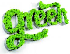 Логотип из зеленого мха Ягель