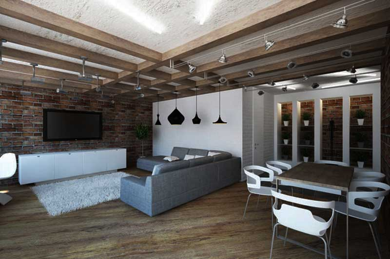 Интерьер лофт в современной квартире